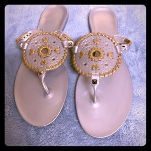 Jack Rogers Silver and Gold Jelly Flats